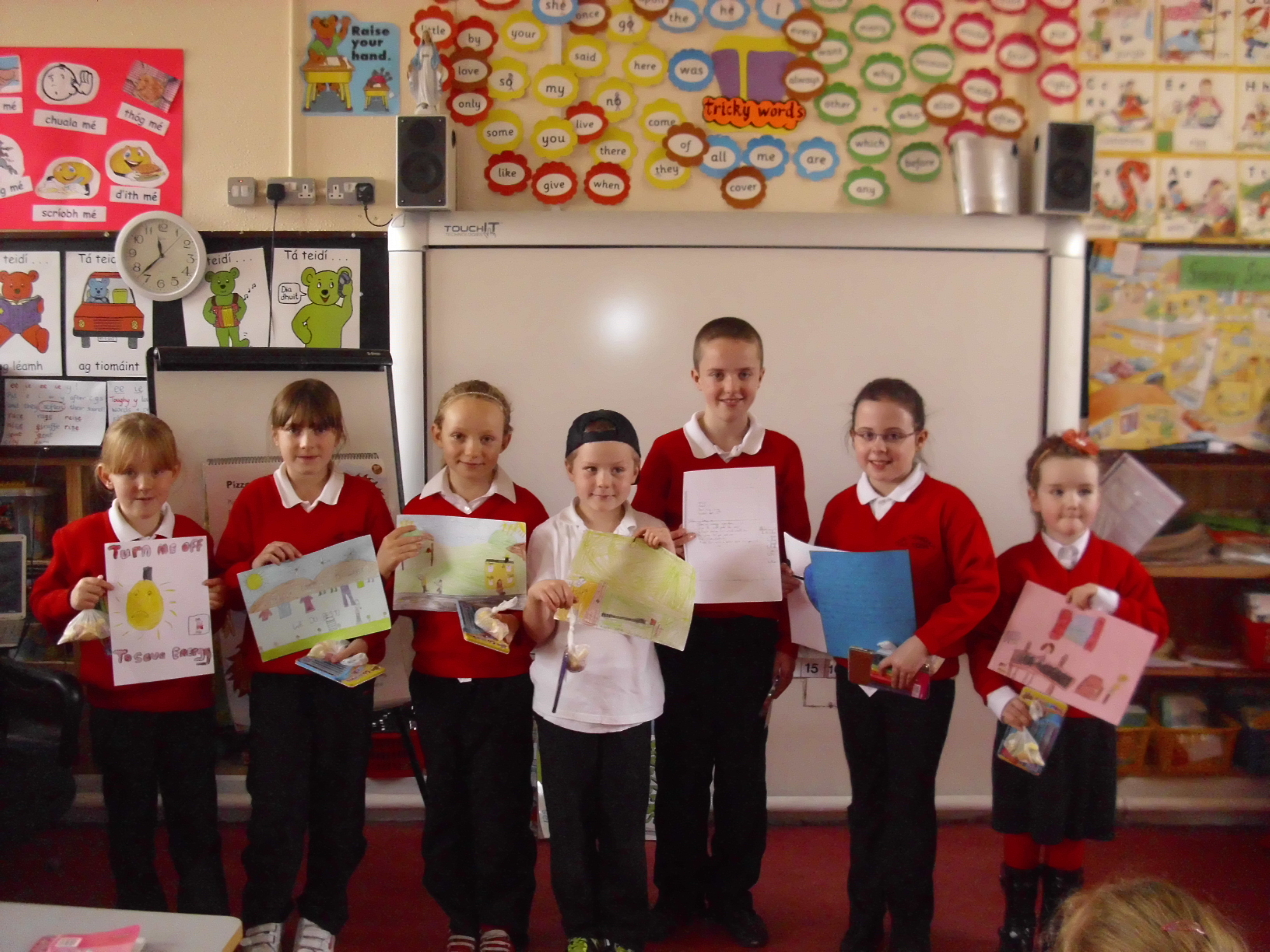 Prizewinners in the saving energy rap and poster competition